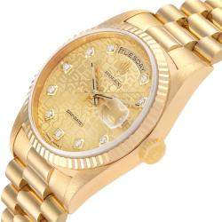 Rolex Champagne Diamonds 18K Yellow Gold President Day-Date 18238 Men's Wristwatch 36 MM