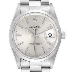 Rolex Silver Stainless Steel Oyster Perpetual Date Automatic 15200 Men's Wristwatch 34 MM
