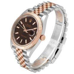 Rolex Chocolate 18K Rose Gold And Stainless Steel Datejust 126331 Men's Wristwatch 41 MM