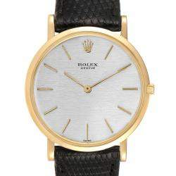 Rolex Silver 18k Yellow Gold Cellini Vintage 9576 Men's Wristwatch 33 MM