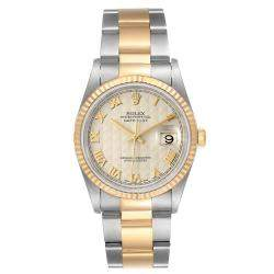 Rolex Silver 18K Yellow Gold And Stainless Steel Datejust 16233 Men's Wristwatch 36 MM