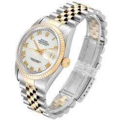 Rolex MOP 18k Yellow Gold And Stainless Steel Datejust 16233 Men's Wristwatch 36 MM