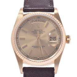 Rolex Champagne 18K Yellow Gold Day-Date Presidential Automatic18038 Men's Wristwatch 36 MM