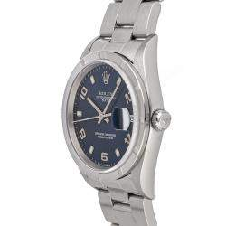 Rolex Blue Stainless Steel Oyster Perpetual Date 15010 Men's Wristwatch 34 MM