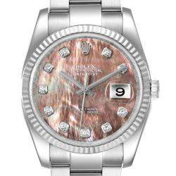 Rolex MOP Diamonds 18K White Gold And Stainless Steel Datejust 116234 Men's Wristwatch 36 MM