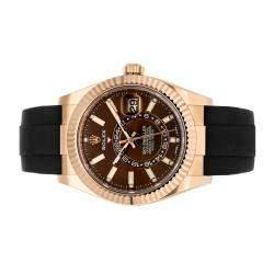 ساعة يد رجالية رولكس سكاي- ديولر 326236 ذهب وردي عيار 18 بني 42 مم