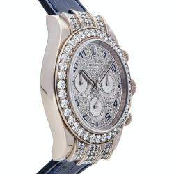 Rolex Silver Diamonds 18K White Gold Cosmograph Daytona 116599RBR Men's Wristwatch 40 MM
