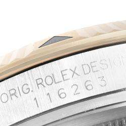 Rolex Grey 18K Yellow Gold And Stainless Steel Turnograph Datejust 116263 Men's Wristwatch 36 MM