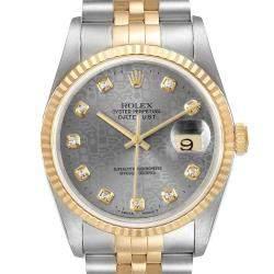 Rolex Grey Diamonds 18K Yellow Gold And Stainless Steel Datejust 16233 Men's Wristwatch 36 MM