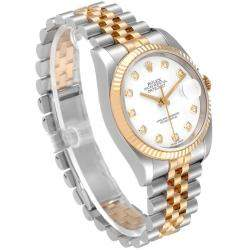 Rolex White Diamonds 18K Yellow Gold And Stainless Steel Datejust 116233 Men's Wristwatch 36 MM