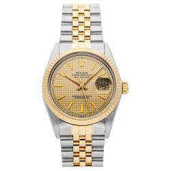 Rolex Champagne 18K Yellow Gold And Stainless Steel Datejust 16013 Men's Wristwatch 36 MM