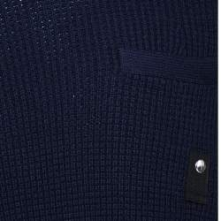 Sacai Navy Blue Rib Knit Wool Paneled Pullover M