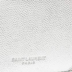 Saint Laurent Metallic Silver Leather Zip Card Holder