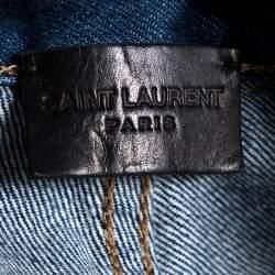 بنطلون جينز سان لوران باريس ضيق ممزق دنيم نمط باهت أزرق داكن مقاس صغير (سمول)