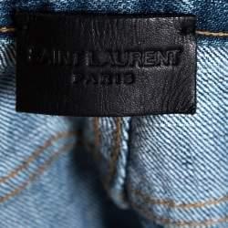 بنطلون جينز سان لوران باريس دينم أزرق نمط ممزق قصة مجسمة مقاس صغير (سمول)