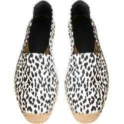 Saint Laurent White/Black Leopard Print Espadrillas Size IT 42