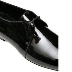 Saint Laurent Black Patent Leather Yves Lace-Ups Size EU 44