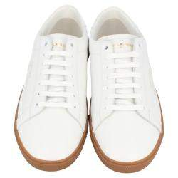 Saint Laurent White Leather SL/06 Embroidered Court Classic Sneakers Size EU 44.5