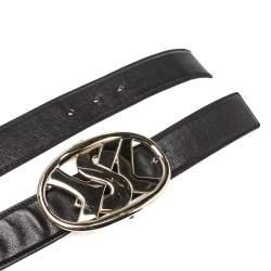 Saint Laurent Paris Black Leather Logo Buckle Belt 105CM