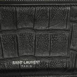 Saint Laurent Paris Black Croc Embossed Leather Zip Card Holder