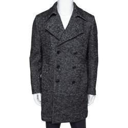 Saint Laurent Paris Monochrome Chevron Tweed Double Breasted Pea Coat L