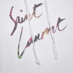 Saint Laurent Paris Washed Out Ecru Distressed Knit Animalier Signature Print Hoodie L