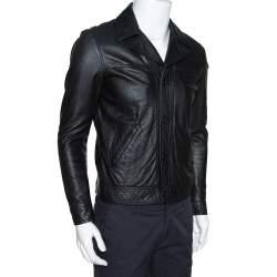 Saint Laurent Paris Black Leather Flight Jacket M