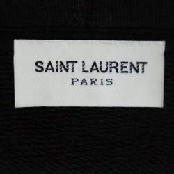 Saint Laurent Paris Black Animal Logo Print Cotton Distressed Hoodie M
