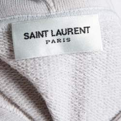 Saint Laurent Paris Dirty Ecru Cotton Distressed Signature Logo Hoodie M