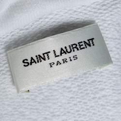 Saint Laurent Paris White Logo Print Cotton Hoodie L