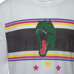Saint Laurent Paris White Dinosaur Print Cotton T-Shirt XXL
