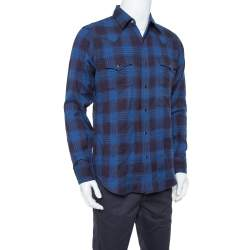 Saint Laurent Paris Navy Blue Plaid Flannel Long Sleeve Shirt L