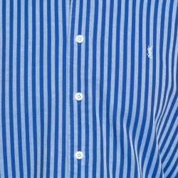 قميص ايف سان لوران قصة مفصلة قطن مخطط كحلي متوسط