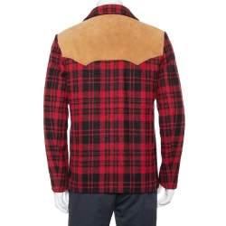 معطف سان لوران كابان جلد وصوف تارتان بليد أسود وأحمر مقاس صغير