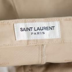 بنطلون سان لوران باريس ساق مستقيمة قطن بيج مقاس متوسط