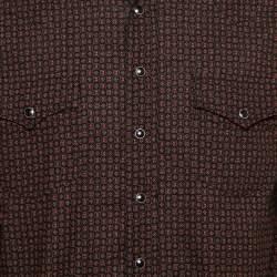 Saint Laurent Paris Black Micro Geometric Printed Cotton Button Front Shirt XL