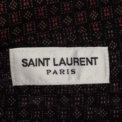 قميص أمامي سان لوران باريس أزرار أمامية قطن طباعة هندسية مايكرو أسود مقاس كبير جداً