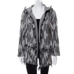 Saint Laurent Paris Grey Ikat Motif Patterned Wool & Linen Hooded Baja Cardigan M