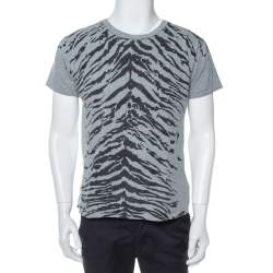 Saint Laurent Paris Grey Tiger Printed Cotton Crewneck T-Shirt M