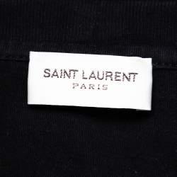 Saint Laurent Paris Black vampire Printed Cotton Crewneck T-Shirt S