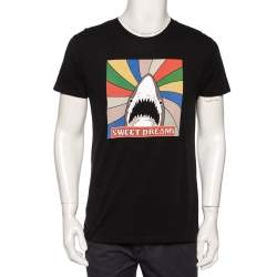 Saint Laurent Paris Black Sweet Dreams Shark Printed Cotton T-shirt M