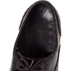 حذاء أوكسفورد سان لوران باريس أربطة بروغيز جلد بنى مقاس 41