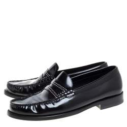 Saint Laurent Black Patent Leather Studded Penny Loafers Size 42