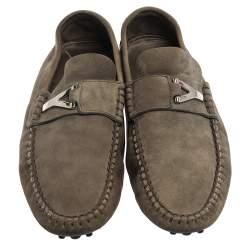 Saint Laurent Paris Tan Green Suede Loafers Size 41