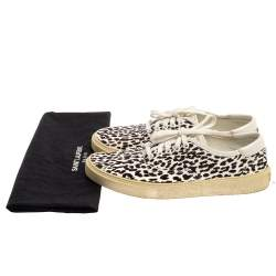 Saint Laurent White/Black Leopard Print Canvas Venice Low Top Sneakers Size 43