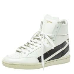 حذاء رياضي سان لوران مرتفع من أعلى جلد أبيض مقاس 41