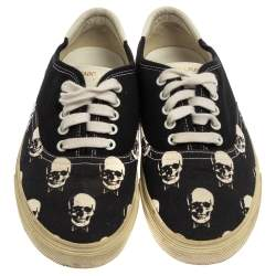 Saint Laurent Black/White Skull Print Canvas Low Top Sneakers Size 40