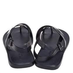 Saint Laurent Black Leather Culver Flat Sandals Size 43