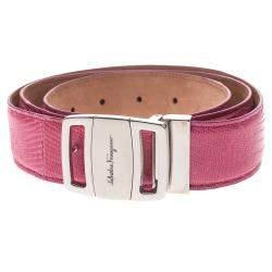 Salvatore Ferragamo Pink Lizard Buckle Belt 105CM