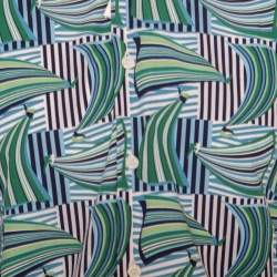 Salvatore Ferragamo Blue and Green Sailboat Printed Cotton Long Sleeve Shirt M